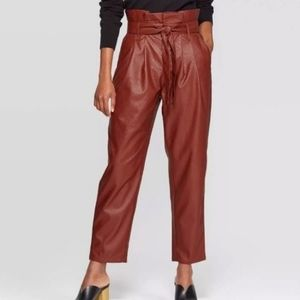 Who What Wear pleather paper bag waist trousers 14